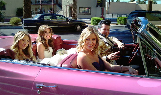 Elvis Pick You Up in His 64' Pink Caddy Convertible Wedding Package