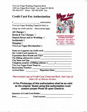 fax authorization form for Las Vegas Weddings, tours and receptions