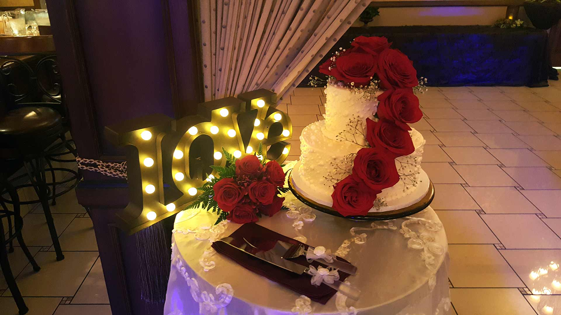 Two Tier Wedding Cake with Real Red Roses